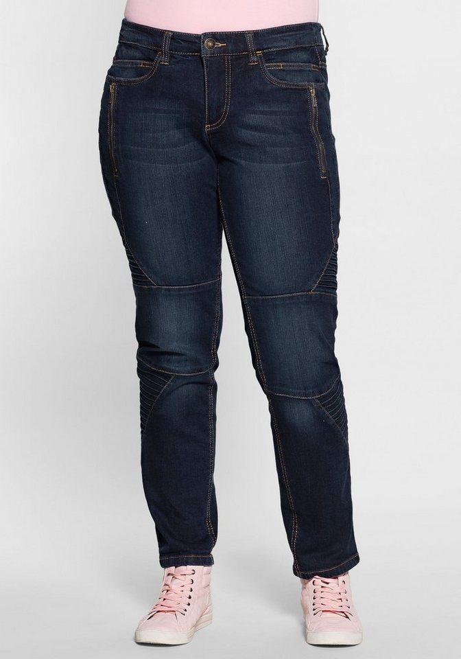 sheego denim stretch jeans im biker style kaufen otto. Black Bedroom Furniture Sets. Home Design Ideas