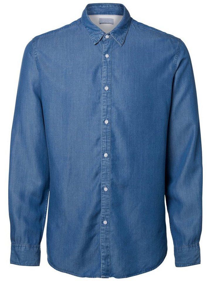 SELECTED Klassisches Hemd in Dusty Blue