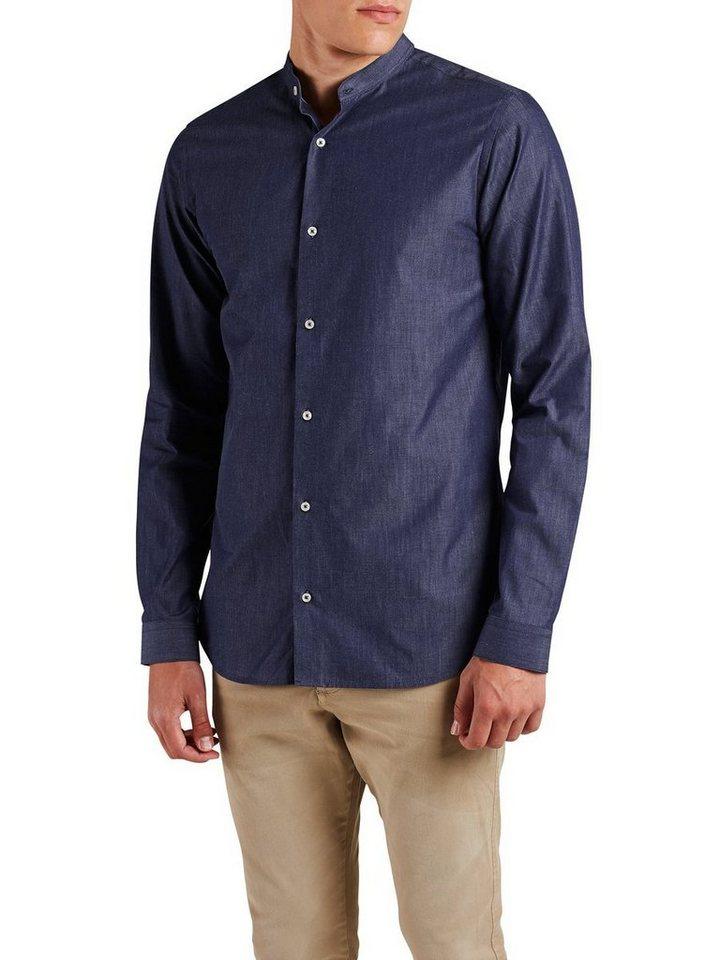 Jack & Jones Bandkragen- Langarmhemd in Navy Blazer