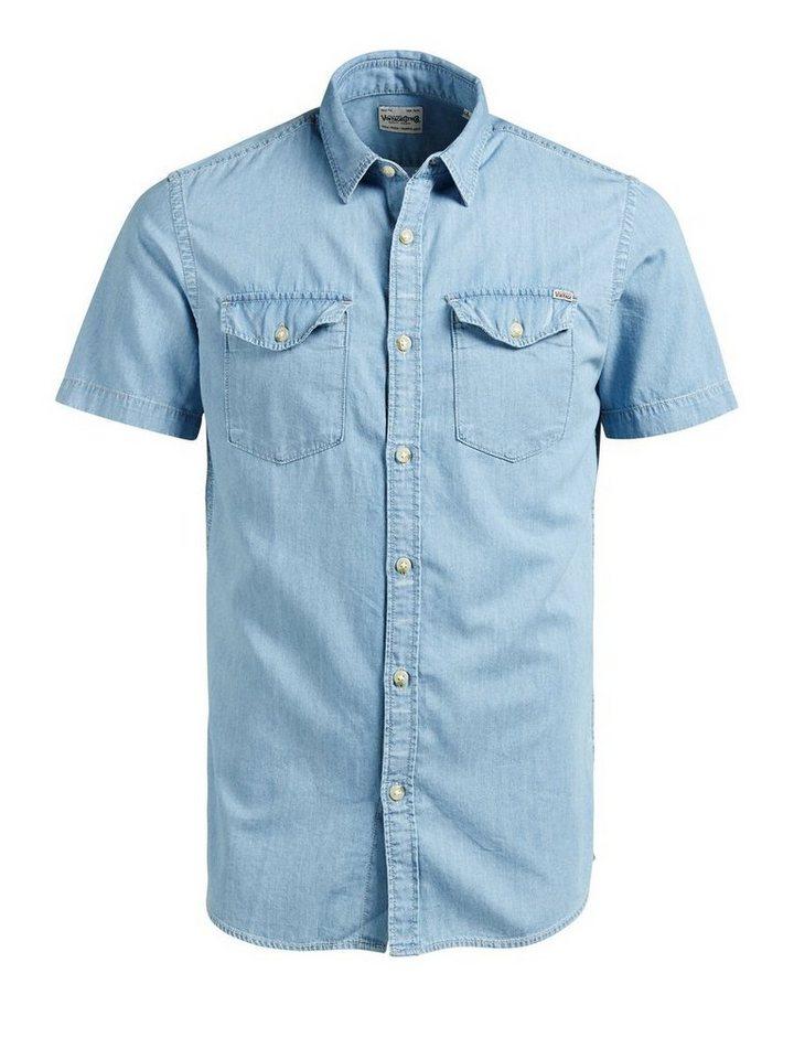 Jack & Jones Klassisches Kurzarmhemd in Light Blue Denim