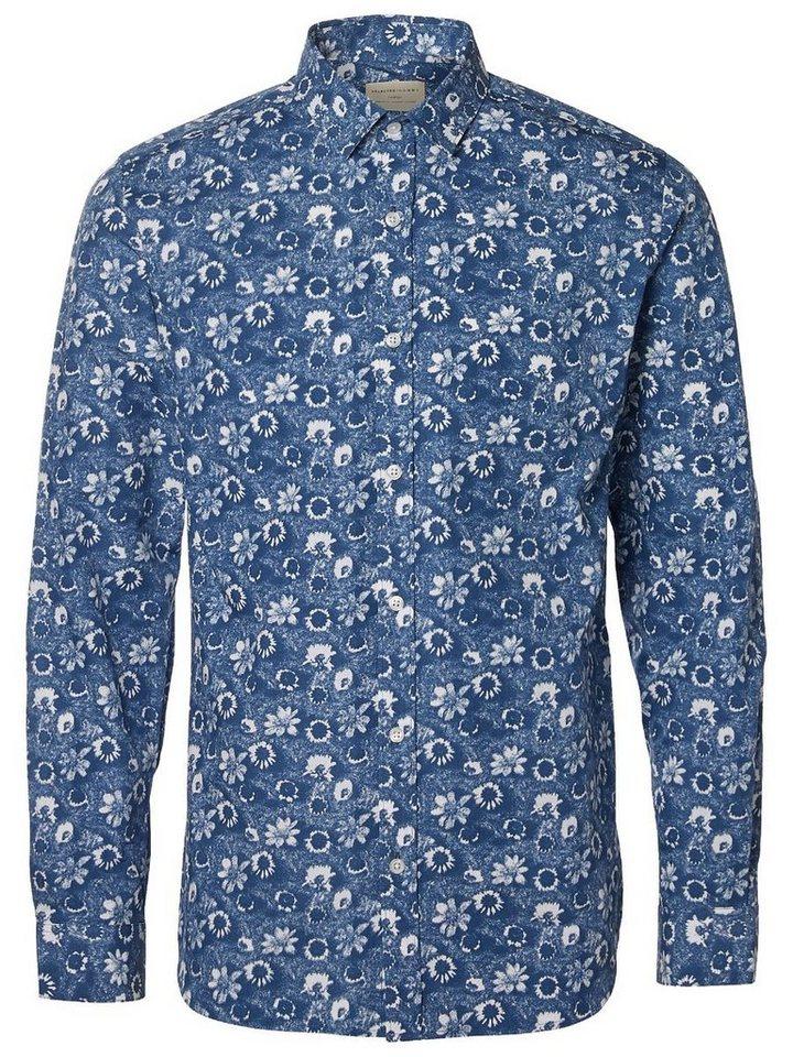 SELECTED Bedrucktes Slim Fit Hemd in Navy Blazer