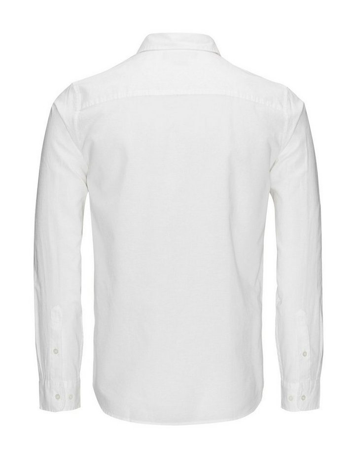 Jack & Jones Leinenmischfaser, Kentkragen- Businesshemd in White