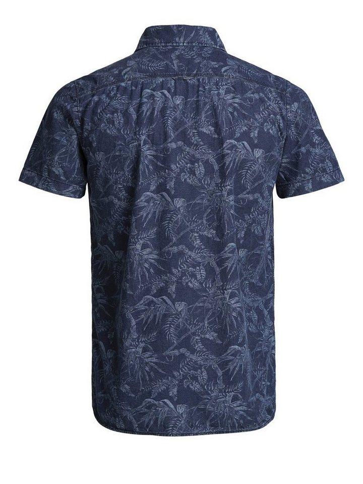Jack & Jones Blumen-Print- Kurzarmhemd in Dark Blue Denim