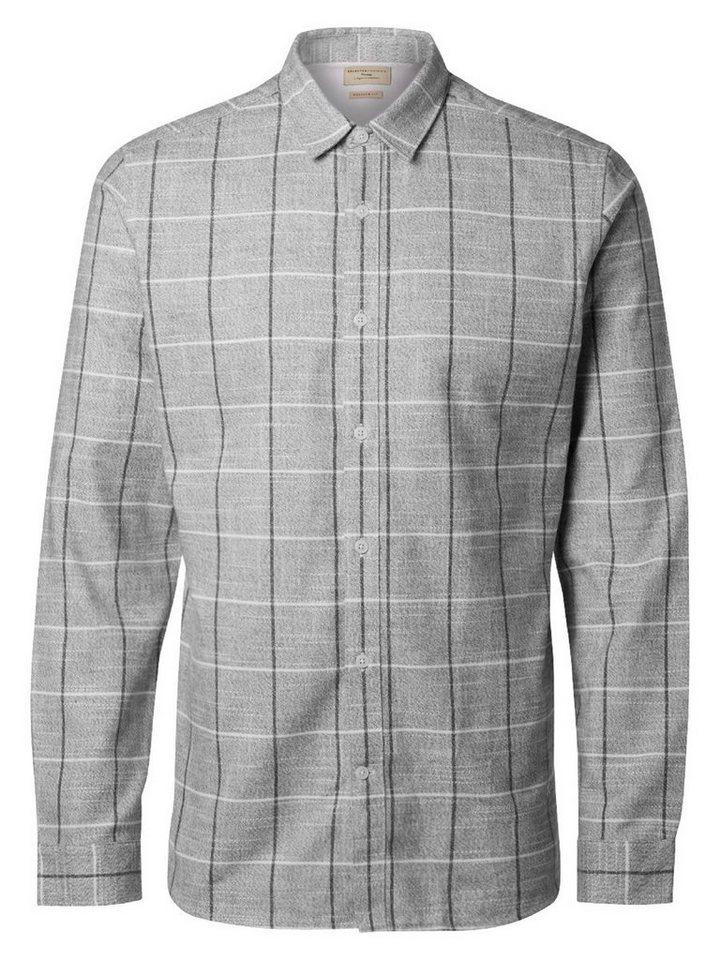 SELECTED Regular fit- Hemd in LIGHT GREY MELANGE