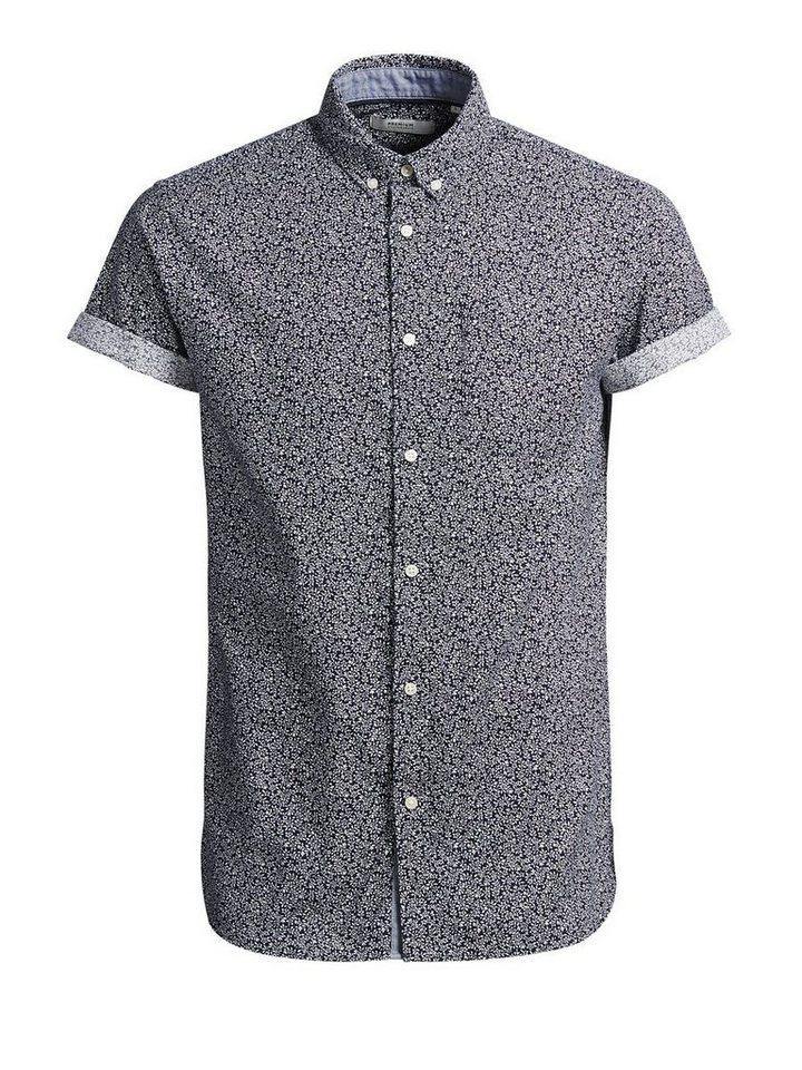 Jack & Jones Button-Down- Kurzarmhemd in Navy Blazer