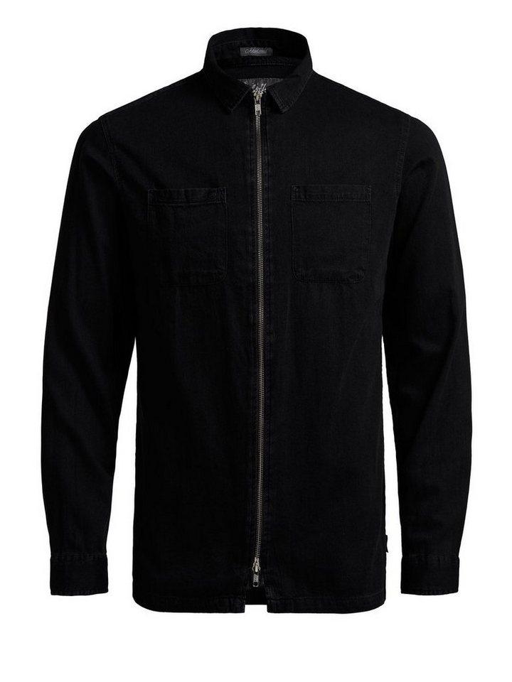 Jack & Jones Reißverschluss-Jeans- Langarmhemd in Black Denim