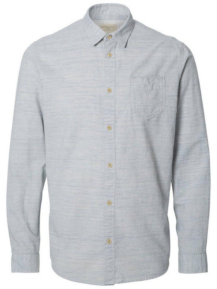 SELECTED Baumwoll Regular fit Hemd in Light Blue Melange