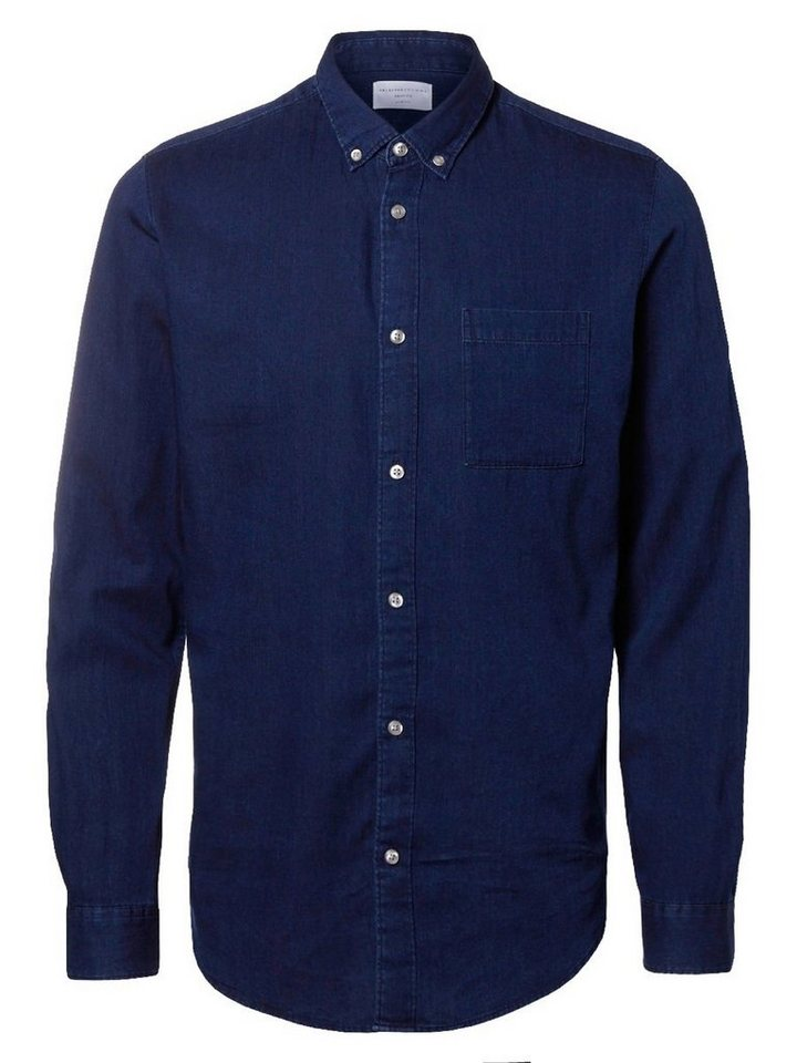 SELECTED Slim-Fit- Langarmhemd in EVENING BLUE
