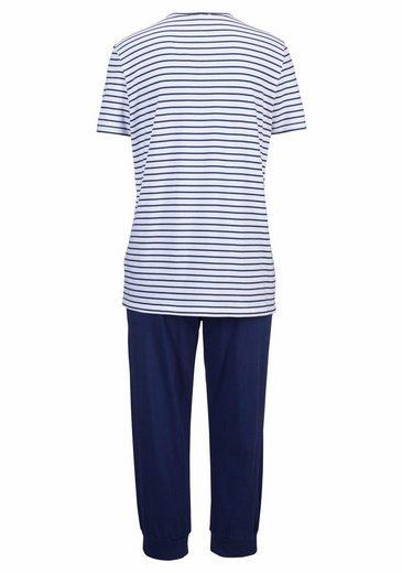 Schiesser Capri-Pyjama im Marine-Look