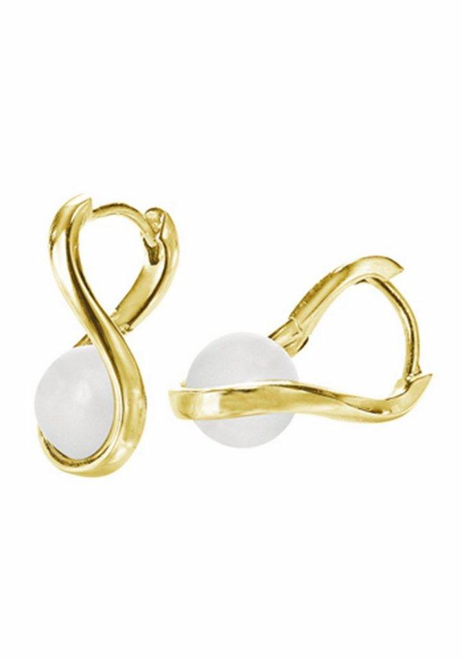 Merii Paar Creolen »M0865E/90/83« mit Achat in Silber 925-goldfarben-weiß