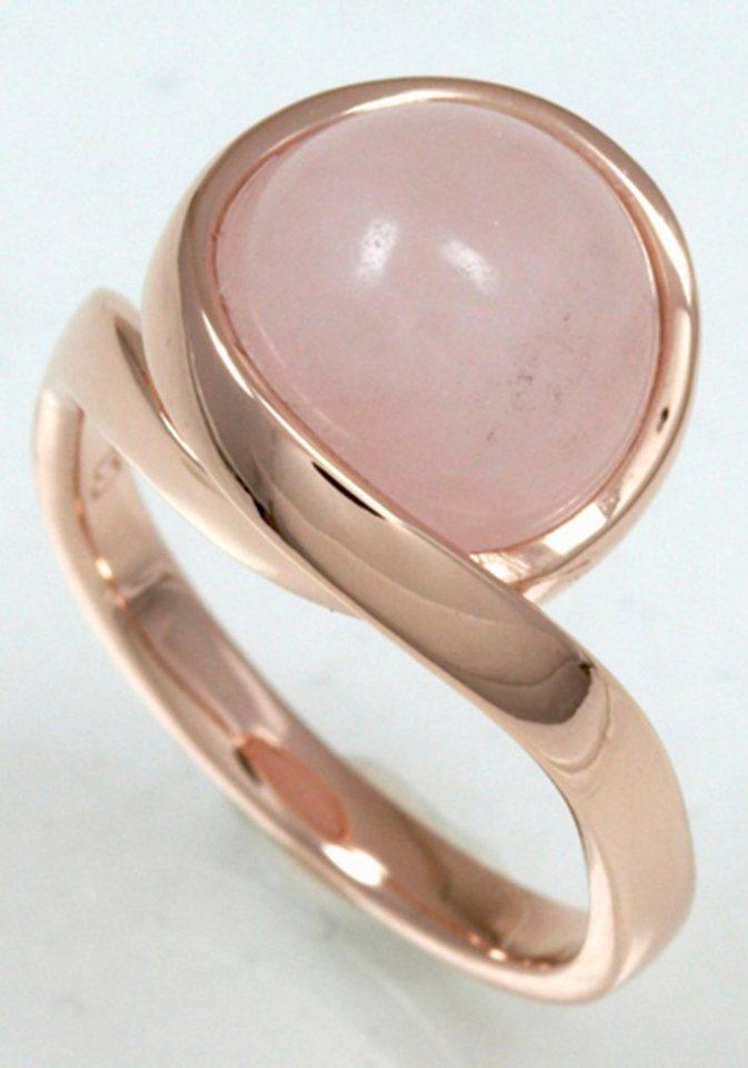 Merii Fingerring »M0868R/90/37/50« mit Rosenquarz in Silber 925-roségoldfarben