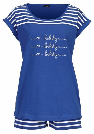Vivance Dreams Shorty In Stripe Design With Front Lettering