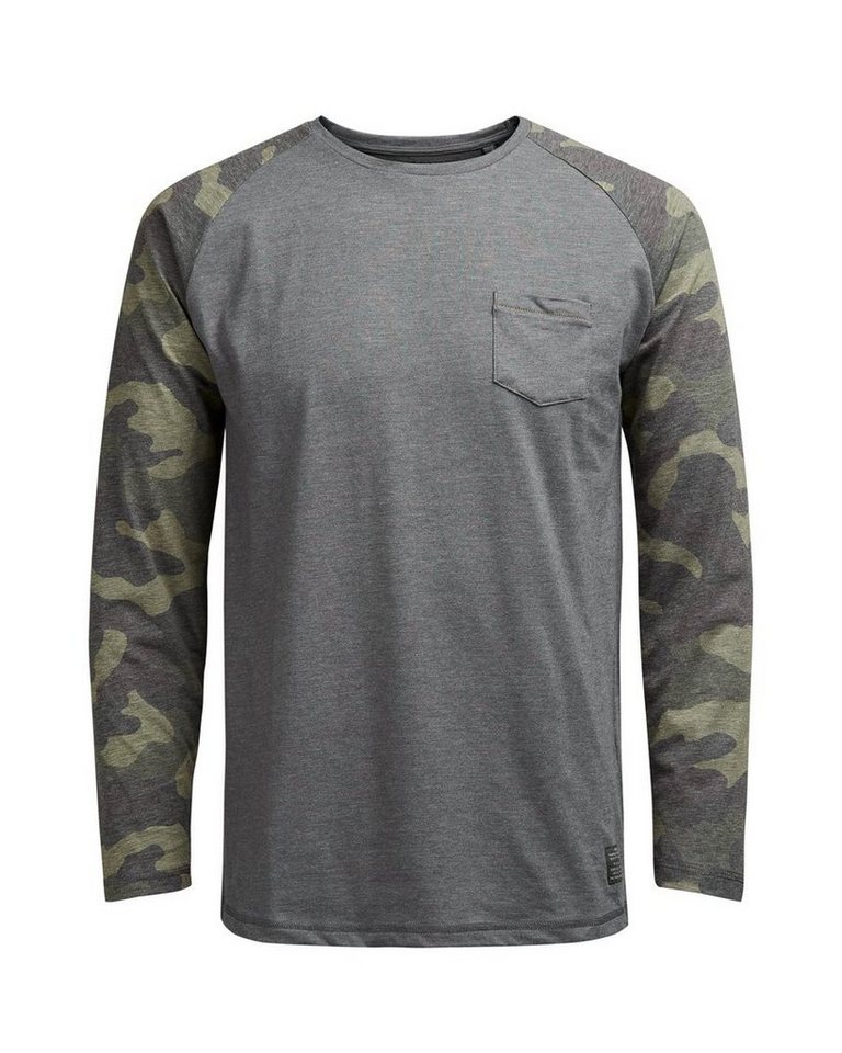Jack & Jones Raglan- T-Shirt in DARK GREY MELANGE