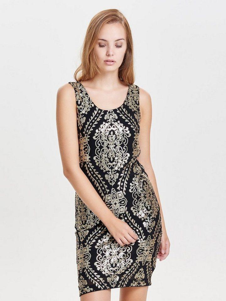Only Pailletten- Kleid ohne Ärmel in Black