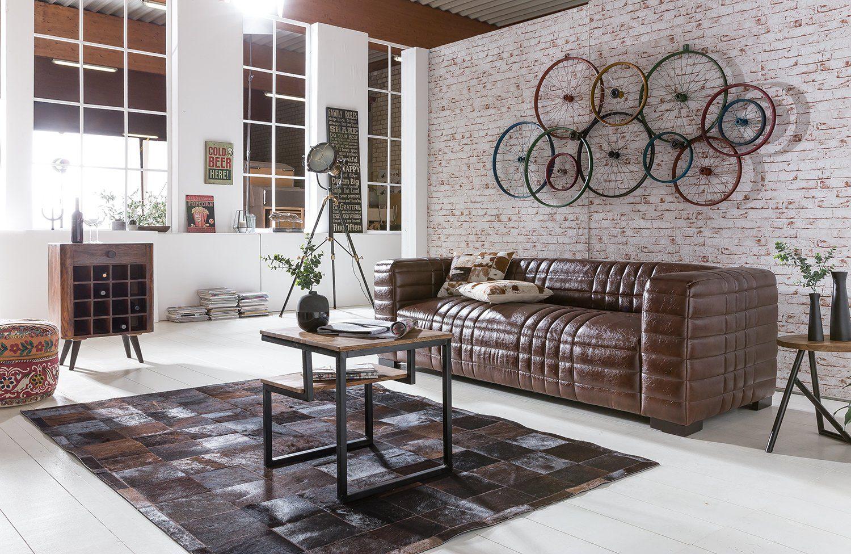 Kasper-Wohndesign Sofa Kunstleder braun 3-Sitzer »STEP«