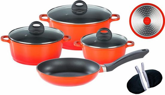 GSW Topf-Set »Gourmet Orange Shadow«, Aluminiumguss, (Set, 9-tlg), Induktion