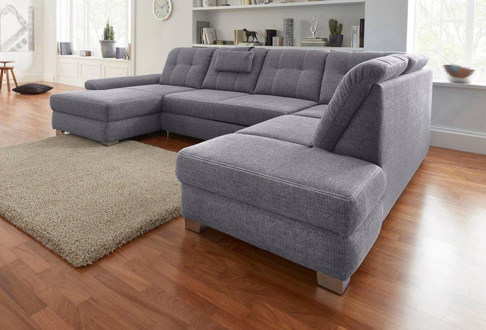 wohnlandschaft mit sitztiefenverstellung wahlweise mit bettfunktion online kaufen otto. Black Bedroom Furniture Sets. Home Design Ideas