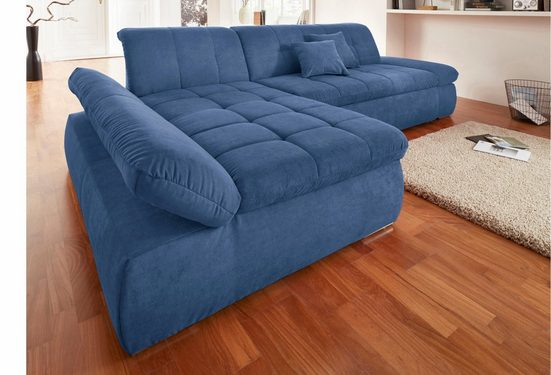 DOMO collection Ecksofa, mit Recamiere, wahlweise mit Bettfunktion