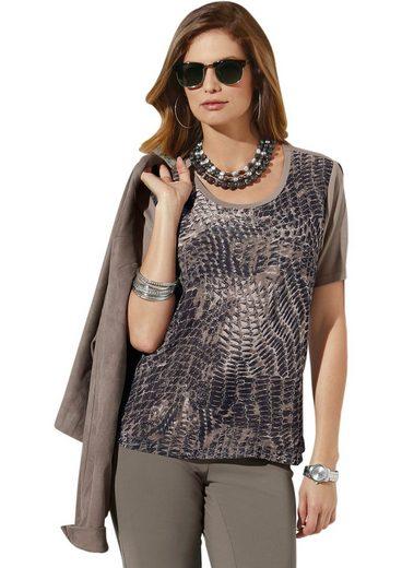 Lady Shirt mit bedrucktem Chiffon