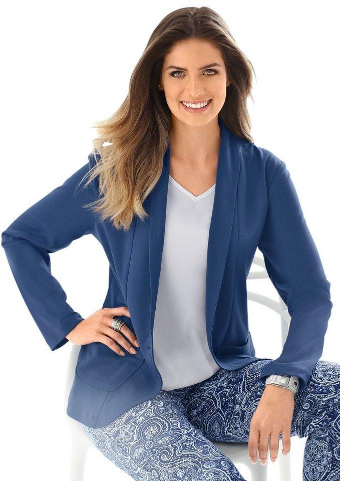Damen Classic Basics Blazer in Jersey-Qualität blau | 08903340970915