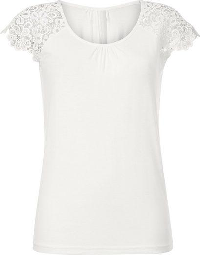 Alessa W. Shirt mit Raglanärmeln aus floraler Stickereispitze