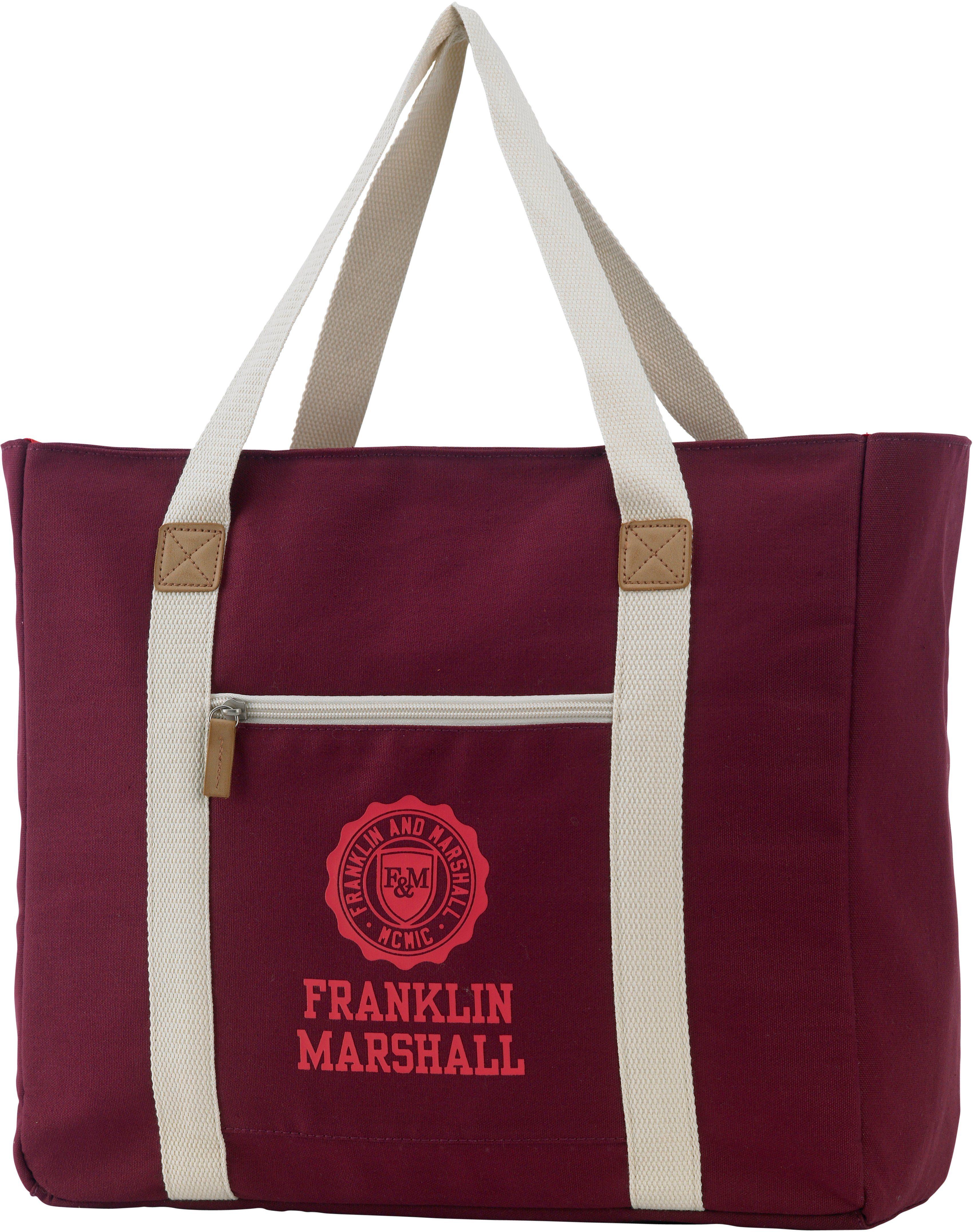 Franklin & Marshall, Schultertasche mit Extrafach, »Girls Shopper, bordeaux rot«