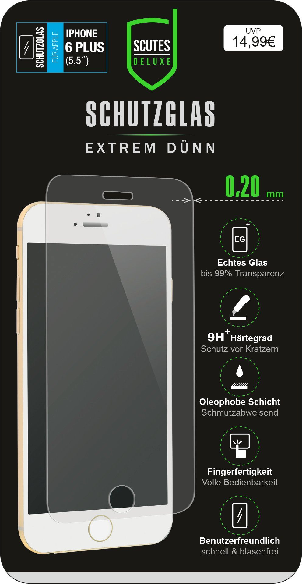 Scutes Deluxe GSM - Zubehör »Schutzglas - iPhone 6/S plus«