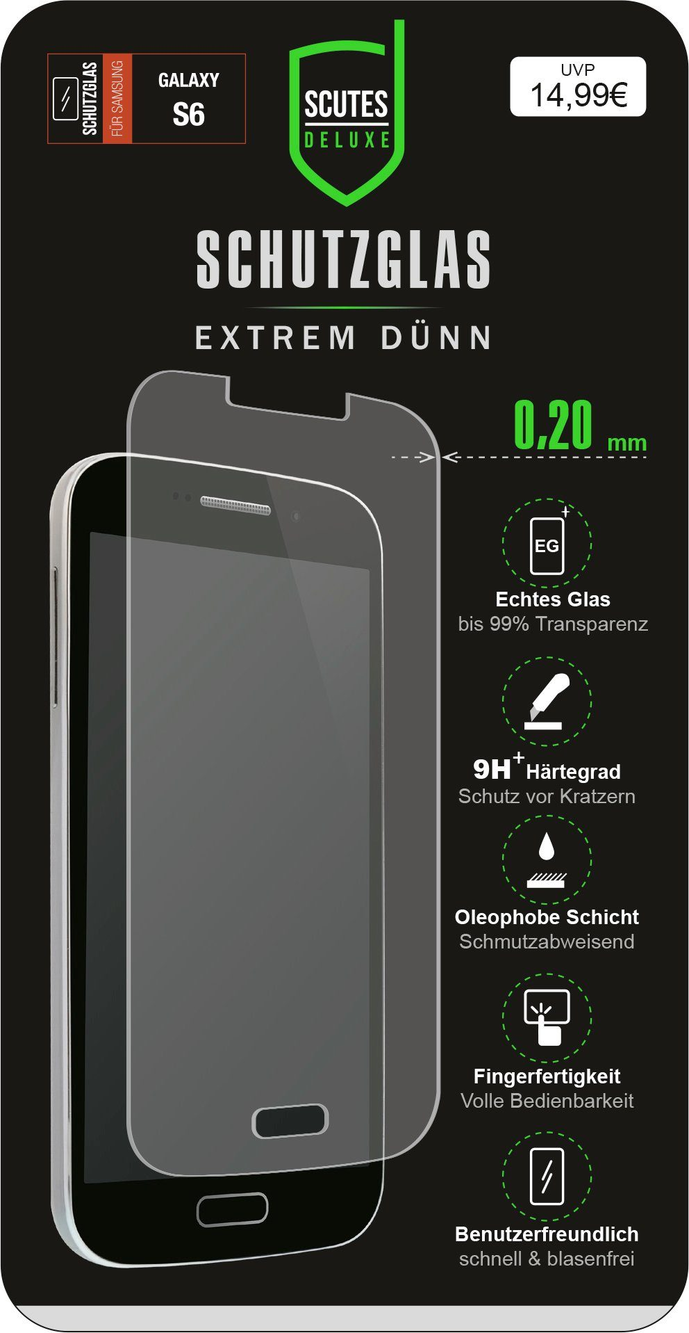 Scutes Deluxe GSM - Zubehör »Schutzglas - Samsung Galaxy S6«