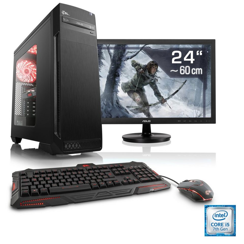 csl gaming pc set i5 7500 gtx 1050 ti 16 gb ram ssd. Black Bedroom Furniture Sets. Home Design Ideas