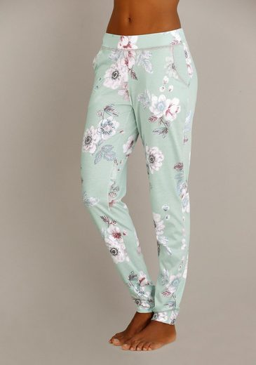 CALIDA Geblümte Pyjamahose mit Spitzenkante