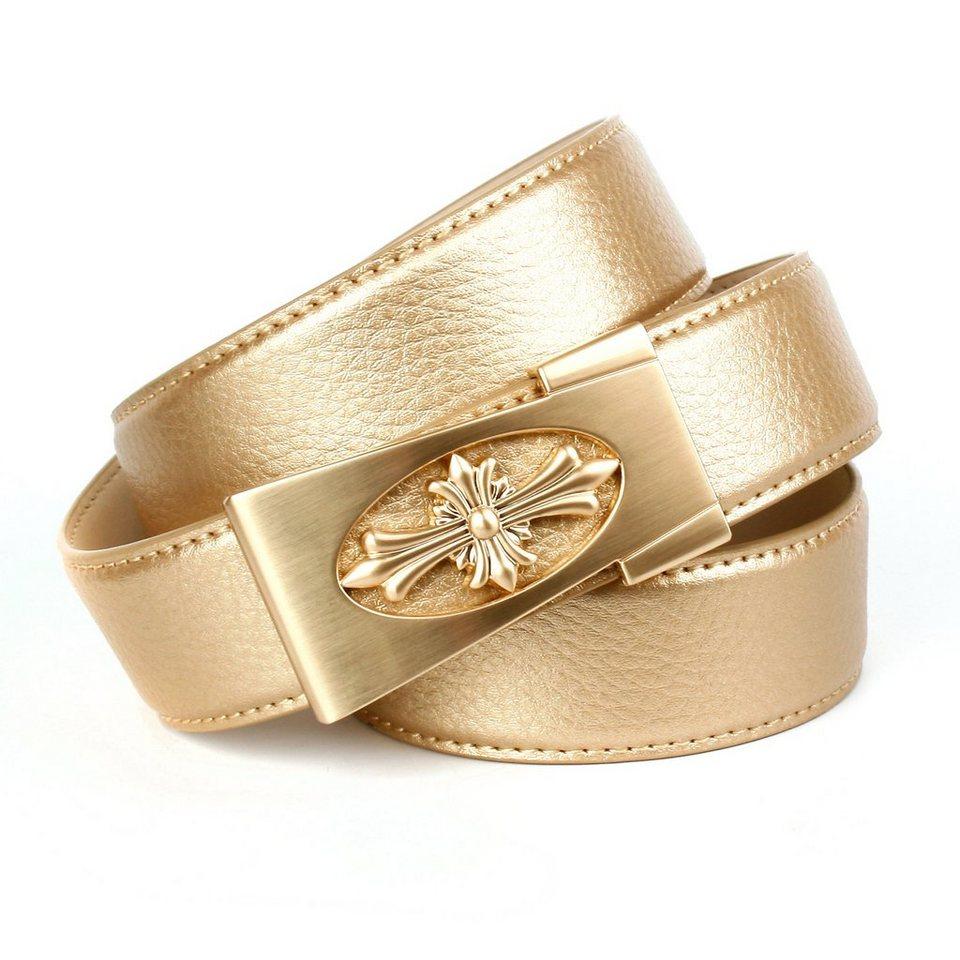 Anthoni Crown Ledergürtel mit Unterführung in Gold