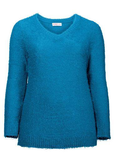 sheego Casual V-Ausschnitt-Pullover, Sehr weicher, flauschiger Strick
