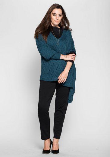 Sheego Style Long Sweater, Cut Asymmetrical