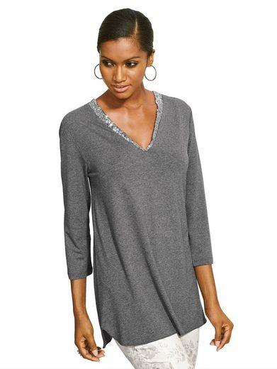 Alba Moda Shirt mit Pailletten am Ausschnitt
