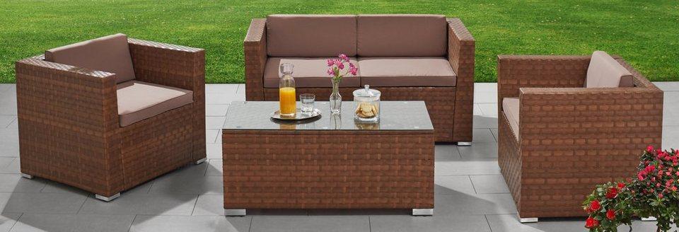 merxx loungeset bari 12 tgl 2 sessel 2er sofa tisch 110x55 cm polyrattan online kaufen. Black Bedroom Furniture Sets. Home Design Ideas