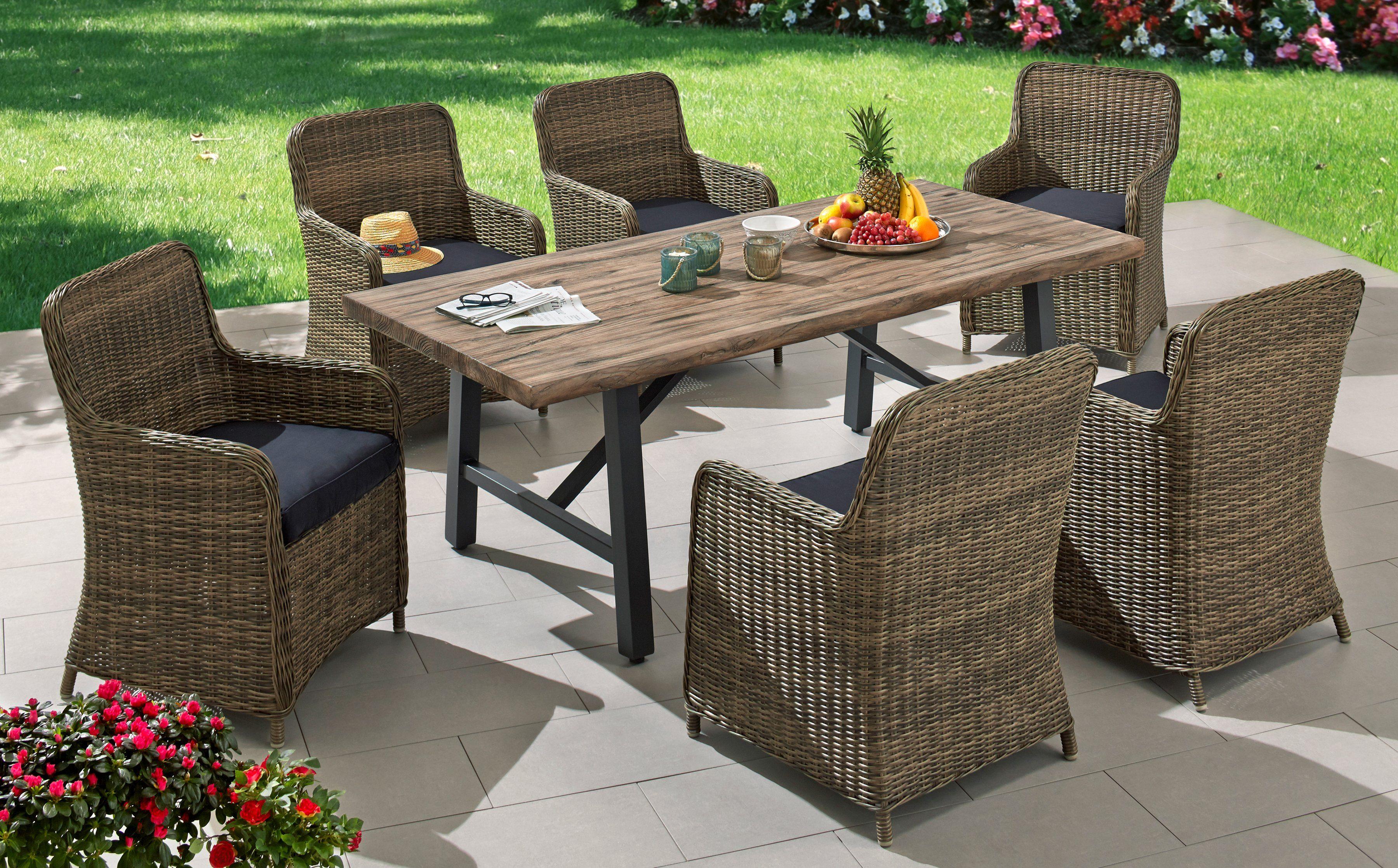 Gartenmöbelset »Kanada«, 6 Sessel, Tisch 200x93 cm, Polyrattan, inkl. Auflagen, braun