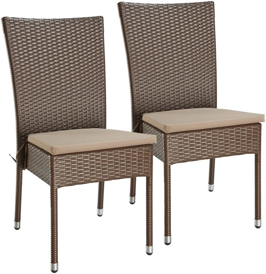 Gartenstühle rattan braun  Gartensessel »Caletta«, (2er Set), Polyrattan, stapelbar, braun ...
