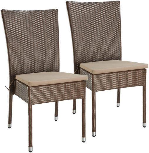 gartensessel caletta 2er set polyrattan stapelbar braun inkl auflage online kaufen otto. Black Bedroom Furniture Sets. Home Design Ideas