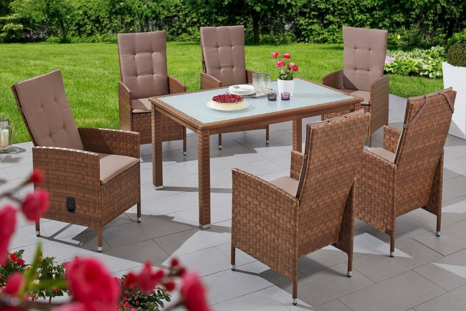 merxx gartenm belset ibiza 13 tlg 6 hochlehner tisch 150x90 cm polyrattan online kaufen. Black Bedroom Furniture Sets. Home Design Ideas