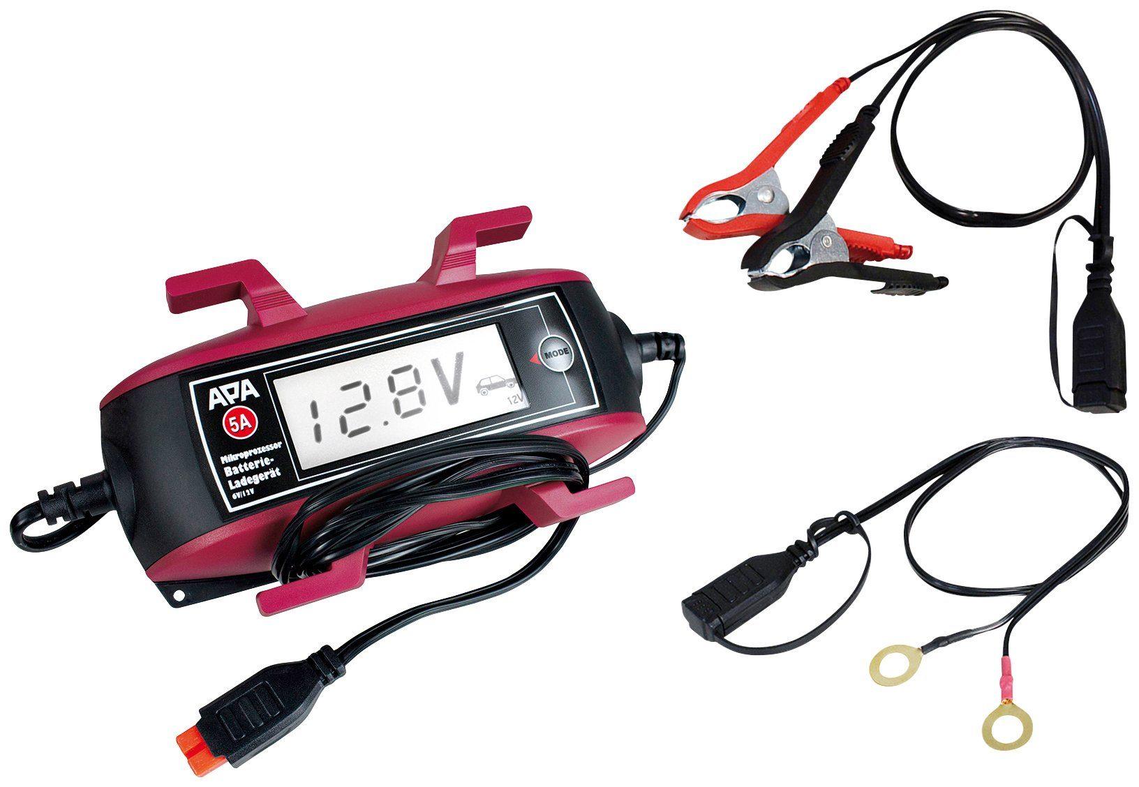 APA Batterieladegerät »6V/12V, 5A «, mit Kabelaufroller und großem Display
