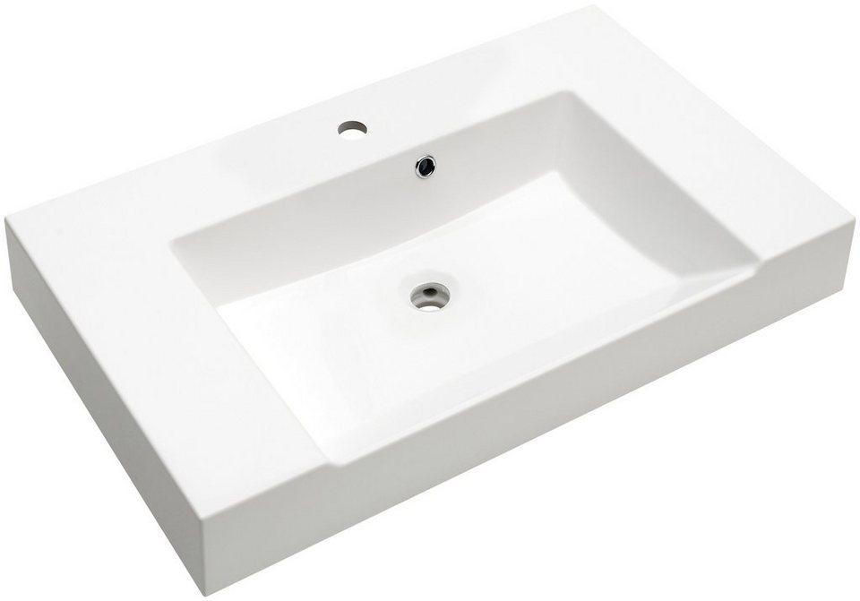 Mineralgussmarmor Waschtisch / Waschbecken »Solitaire 7020« Breite 86 cm in weiß