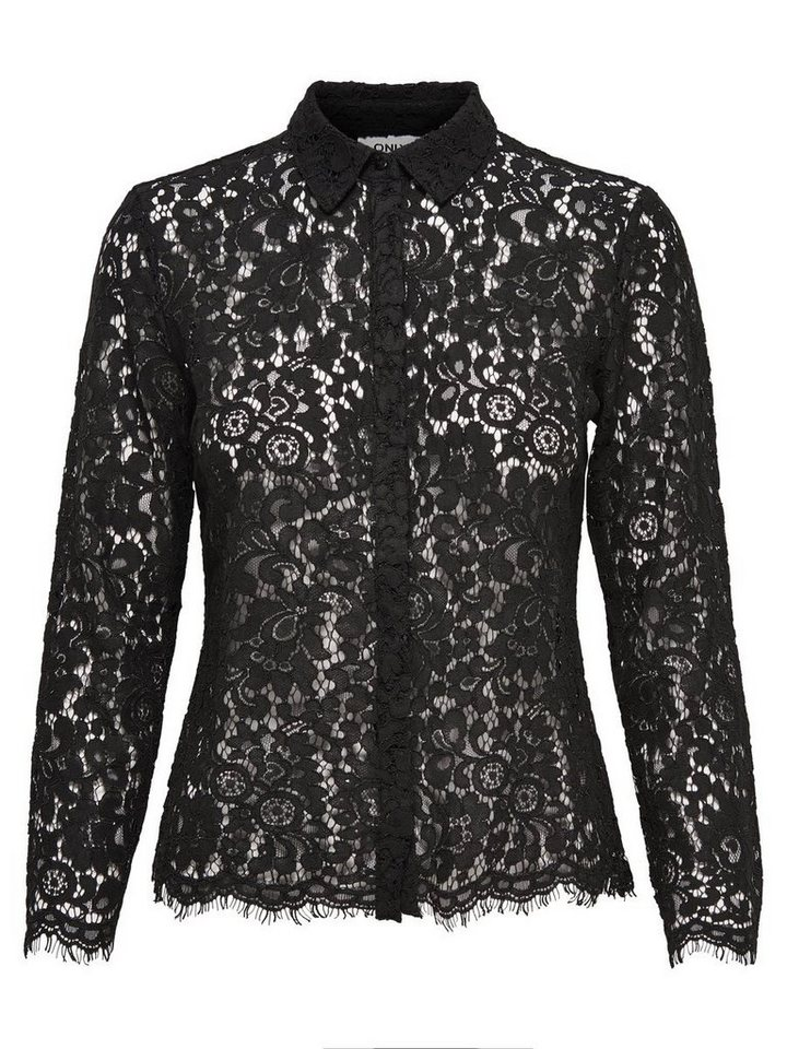 Only Spitzen- Langarmhemd in Black