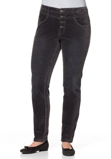 Chinohose Occasionnel Sheego, Stretch-samt