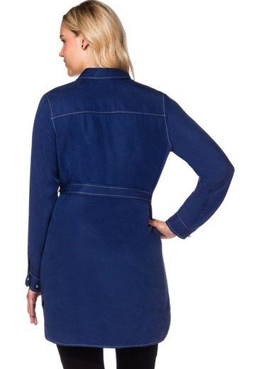sheego Style Blusenkleid, Schmuckknöpfe mit großen Steinen