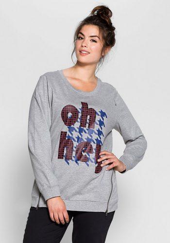 Damen sheego Casual Sweatshirt Seitliche, diagonal laufende Metallreißverschlüsse grau | 08941101128700