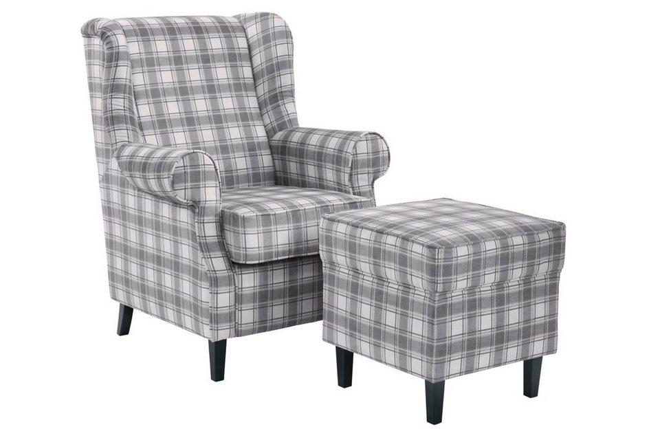 heine home sessel hocker im landhaus stil sessel hocker mit dekorativem karobezug online. Black Bedroom Furniture Sets. Home Design Ideas