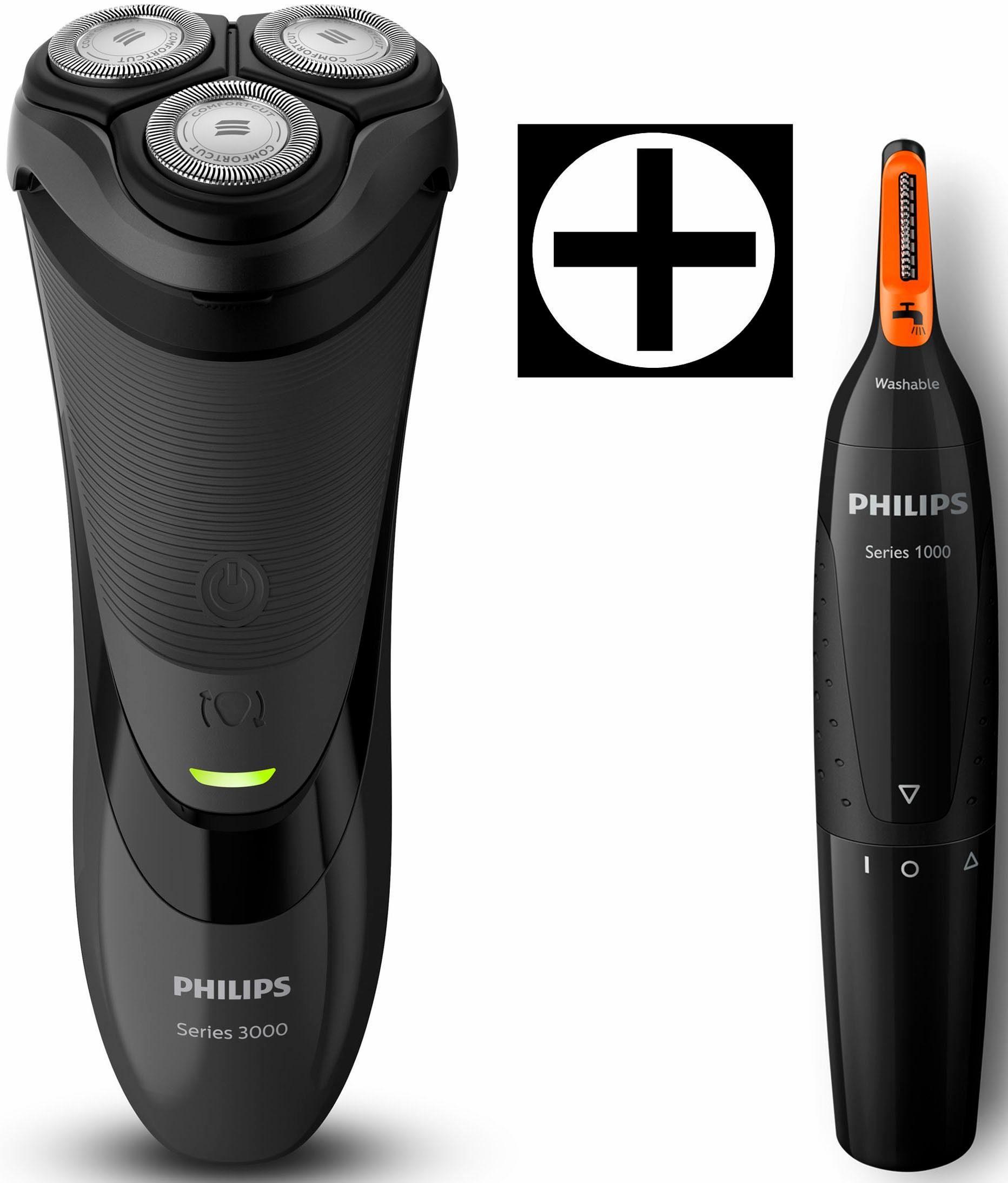 Philips Rasierer Series 3000 S3110/41, Akku/Netz, ComfortCut, inkl. Nasen- und Ohrhaartrimmer