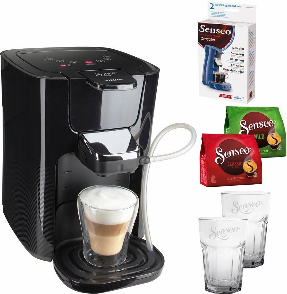 SENSEO® Kaffeepadmaschine HD7855/50 LatteDuo, inkl Gratis-Zugaben im Wert von 35 € in schwarz-grau