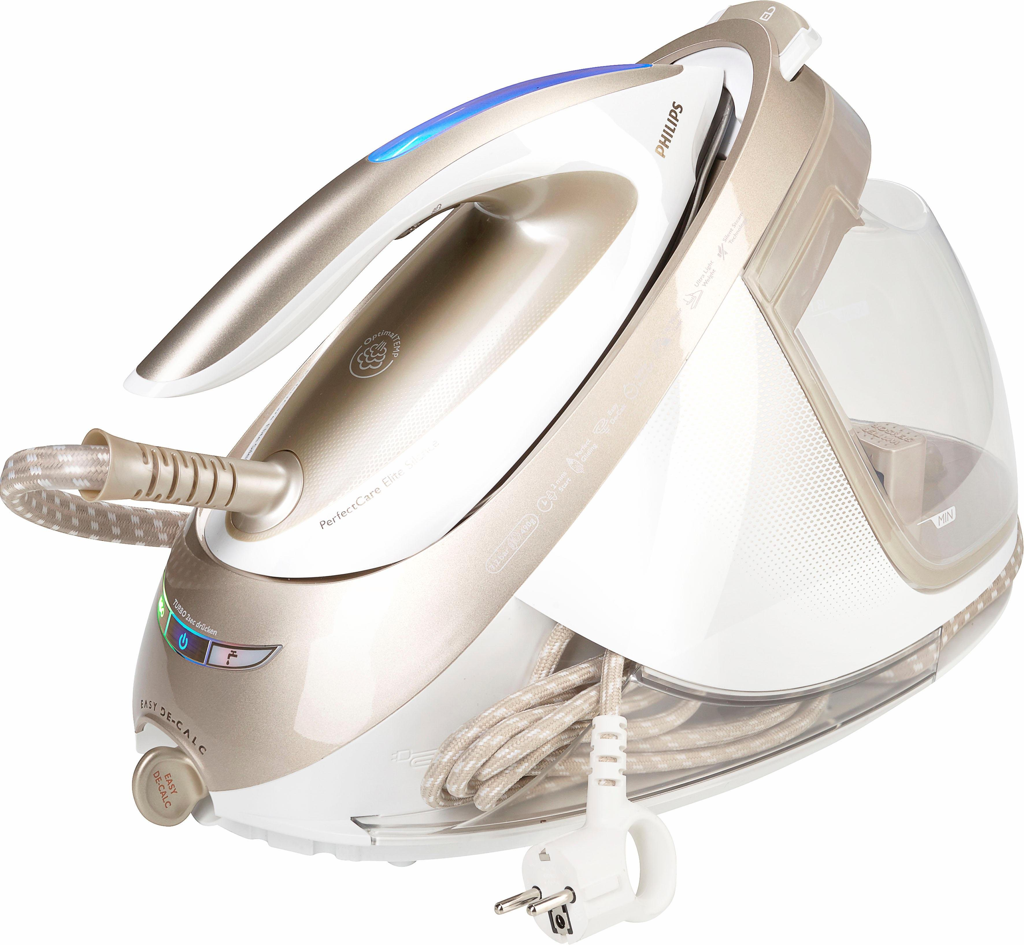 Dampfbügelstation GC9642/60 PerfectCare Elite, 1800 ml Wassertank, besonders gleitfähige T-IonicGlide-Bügelsohle
