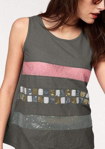 Aniston Tanktop, Sequined Embroidery
